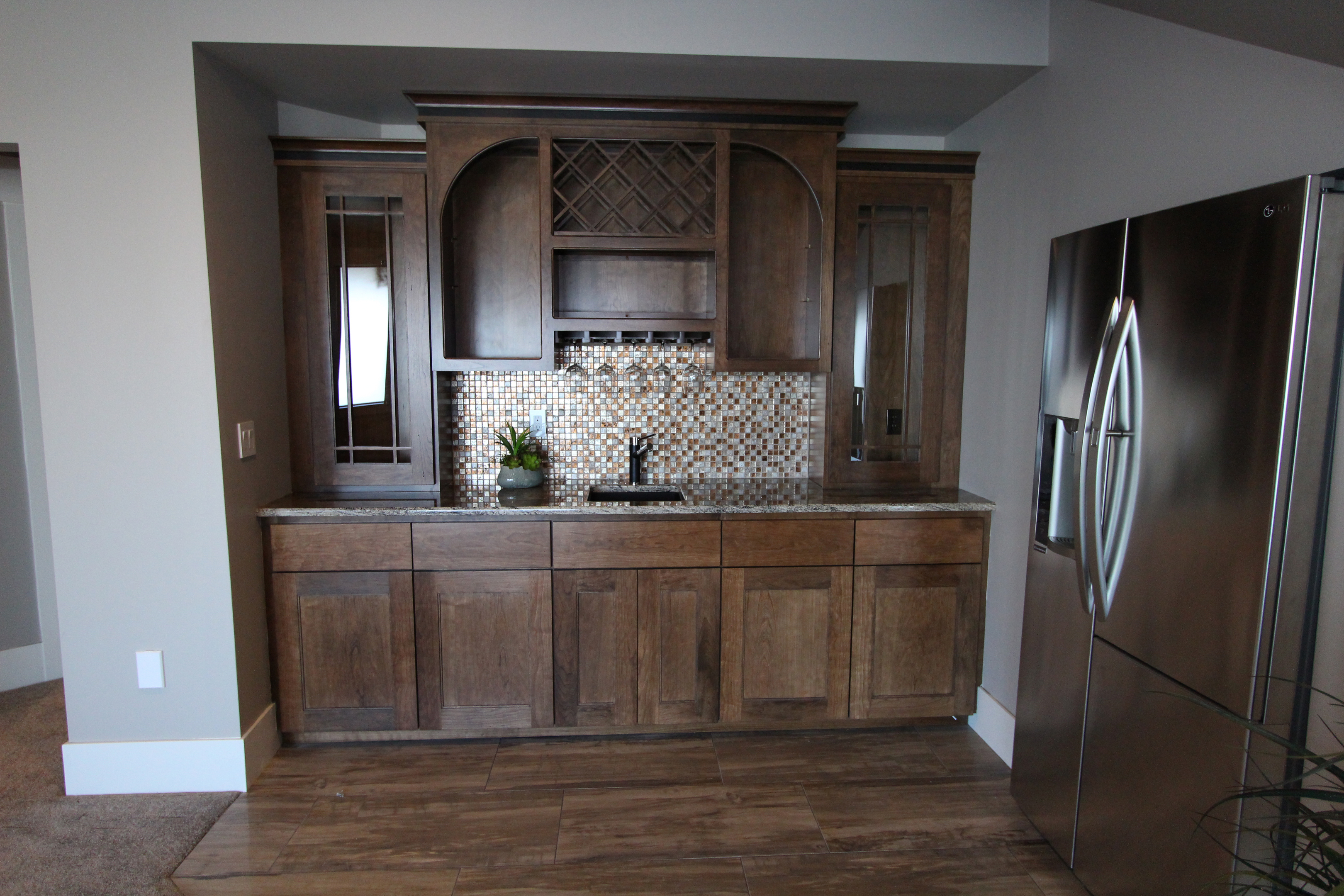 thumb misc shaker style cherry dark color recessed panel staggered wet bar open cubbies open bookcase