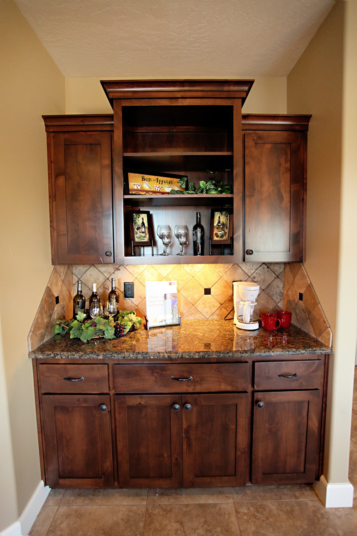 thumb misc shaker style knotty alder dark color recessed panel dry bar open bookcase open shelves
