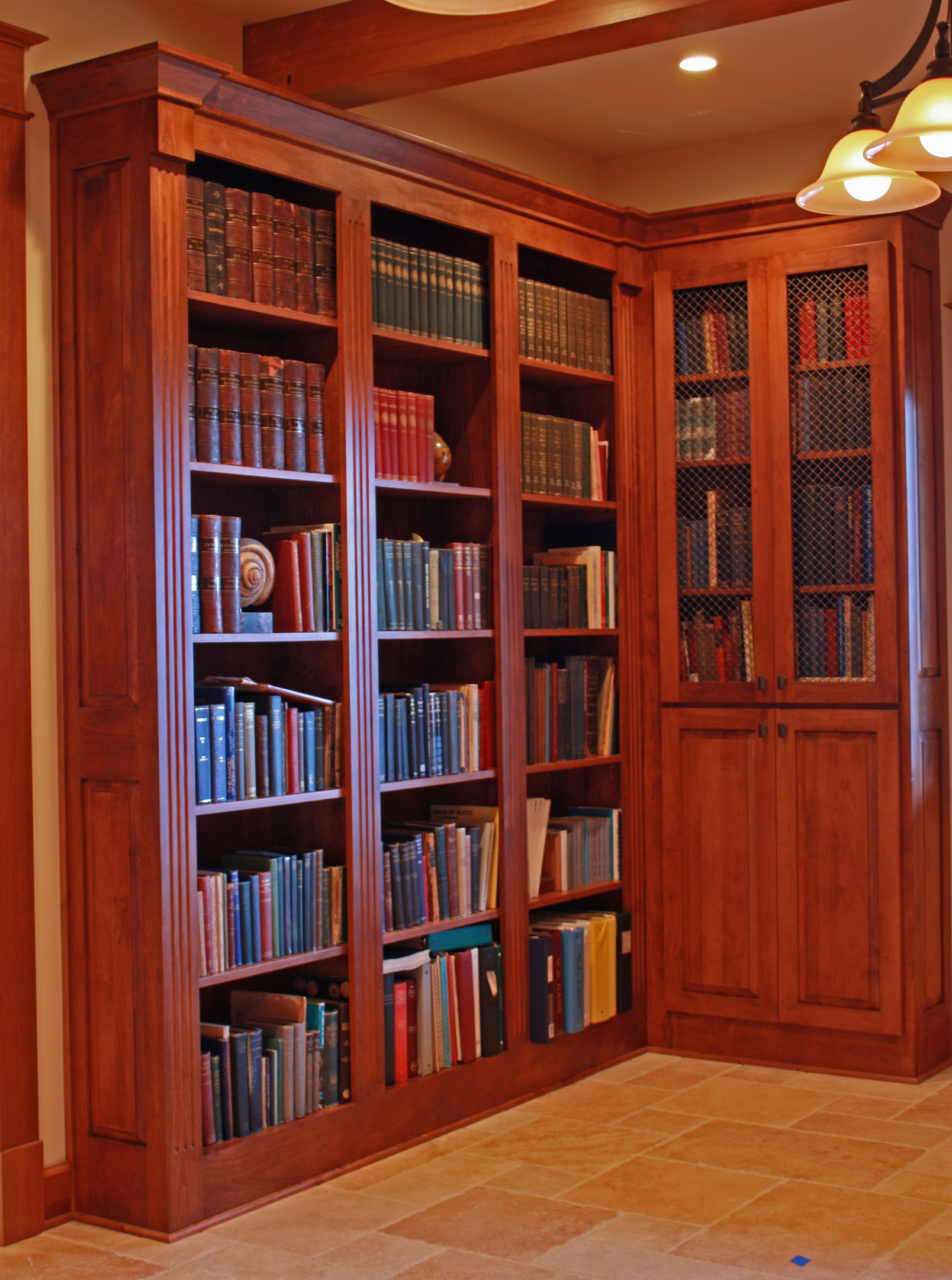Wood Paneled Office: Affordable Custom Cabinets
