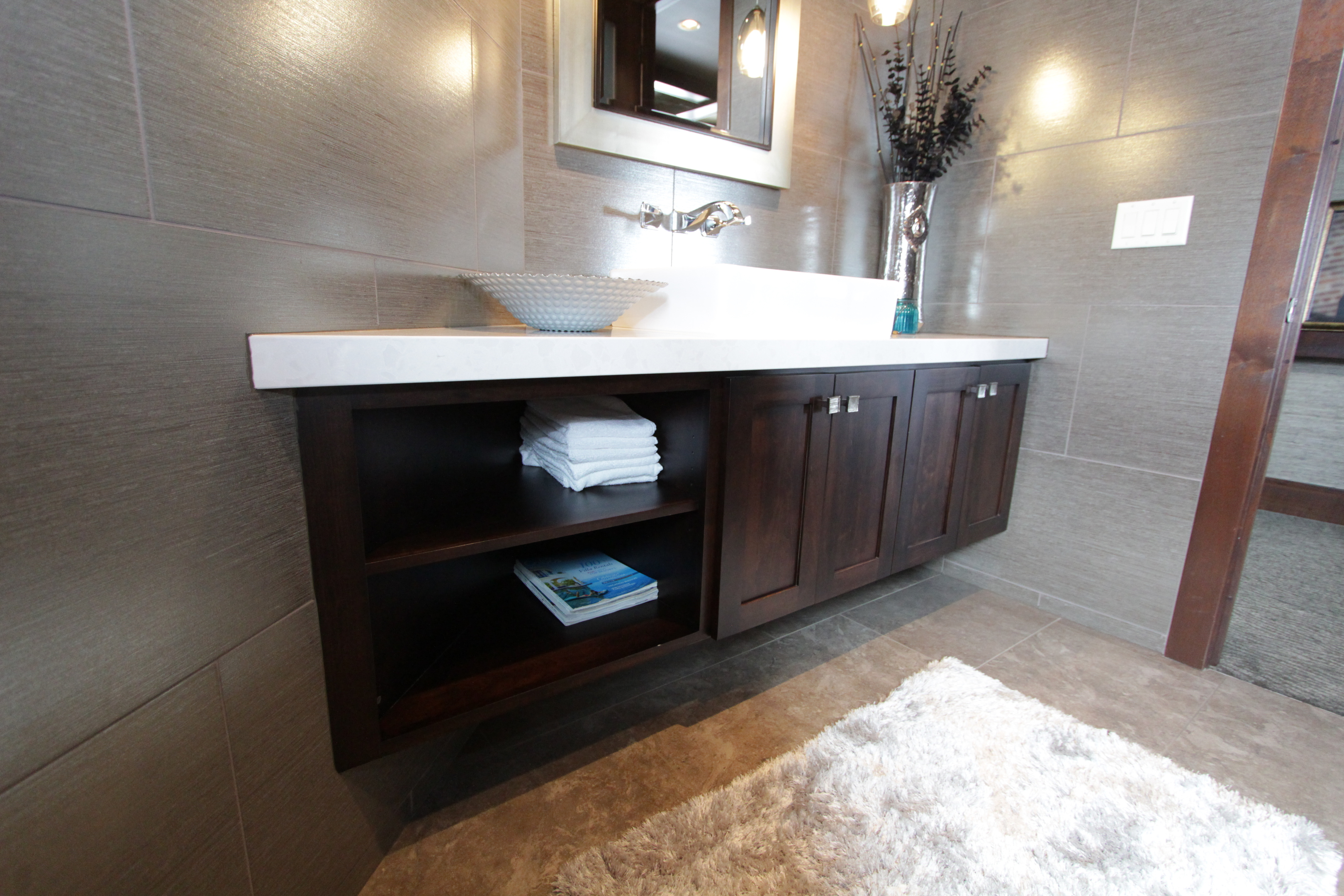 Merveilleux Thumb Vanity Contemporary Style Beech Dark Stain Recessed Panel Wide Frame  Full Overlay Open Cubbies Single
