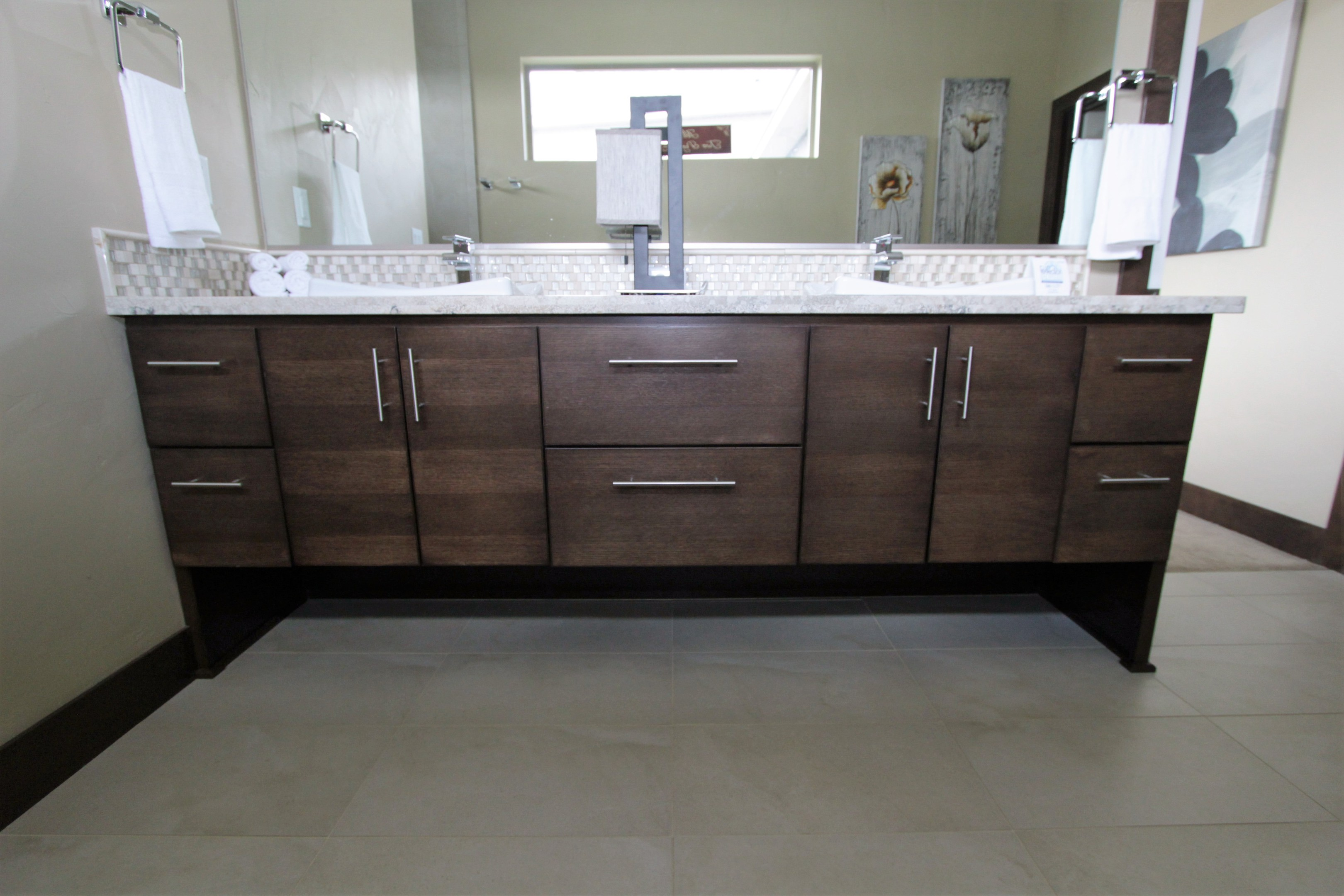 Thumb Vanity Contemporary Style Quartersawn Walnut Dark Color Banded Door  Floating Look Legs Banks Of Drawers