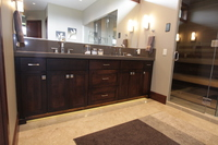 Thumb vanity  contemporary style  western maple  dark color  recessed panel  bank of drawers  double sinks  full overlay