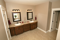 Thumb vanity  traditional style  knotty alder  dark color  raised panel  double sink  sinks bumped out  master bath  standard overlay