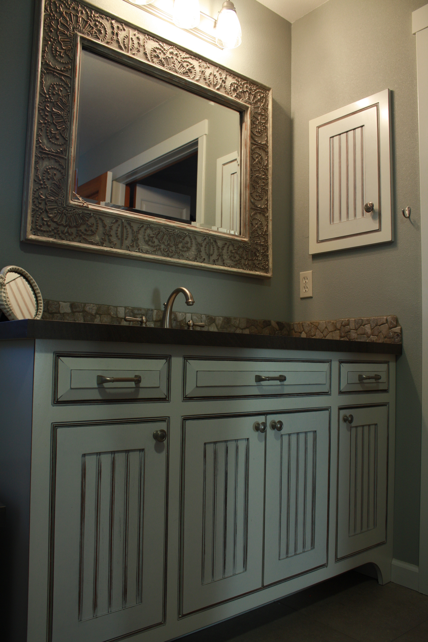 Thumb Vanity Traditional Style Painted With Glaze Wainscot Panel Flush  Mount Medicine Cabinet Arched Toekick Bevel