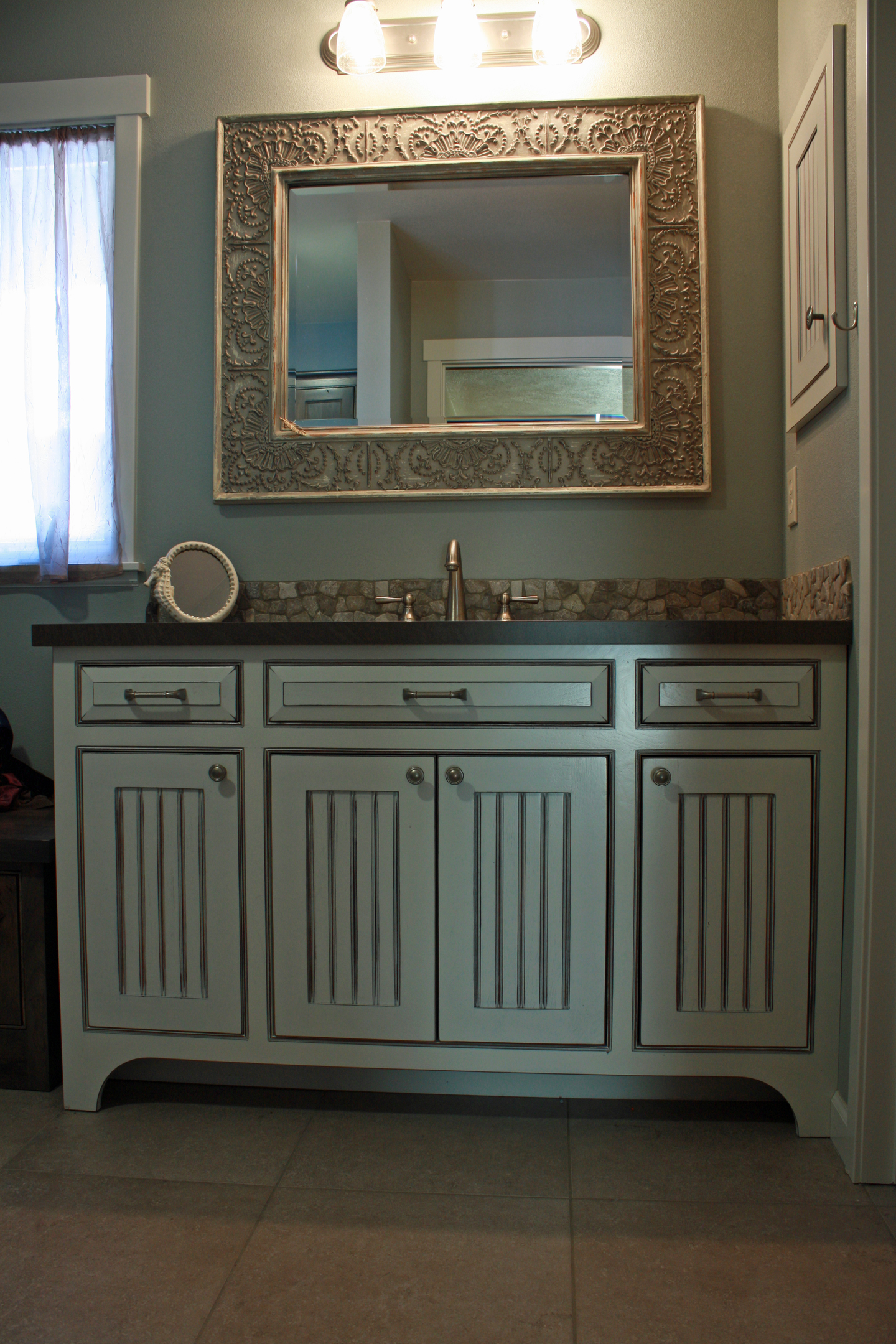 Thumb Vanity Traditional Style Painted With Glaze Wainscot Panel Flush  Mount Medicine Cabinet Arched Toekick