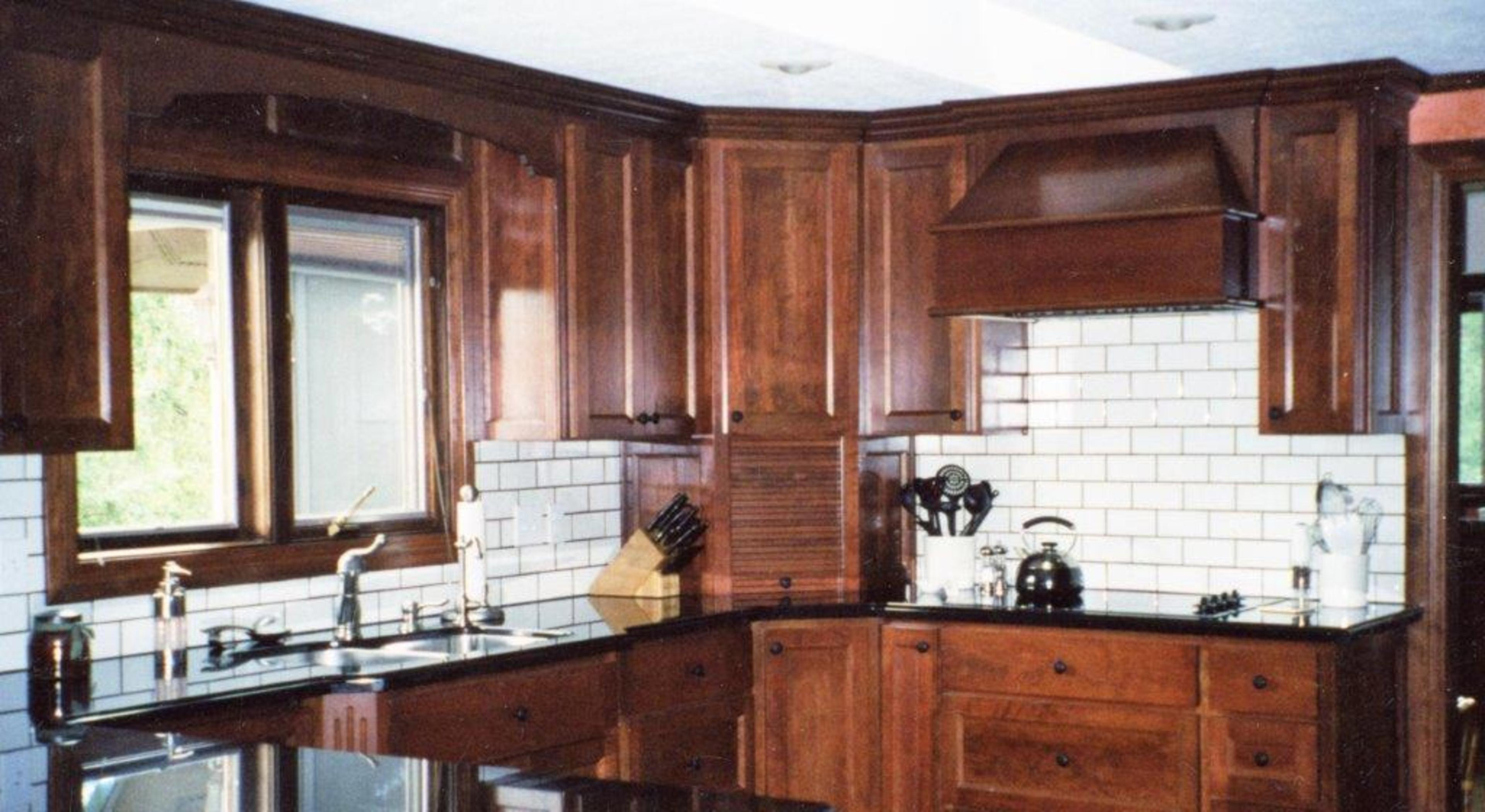 Amazing photo of  panel doors angled wood hood recessed panel ends appliance garage 6 with #935338 color and 3840x2100 pixels