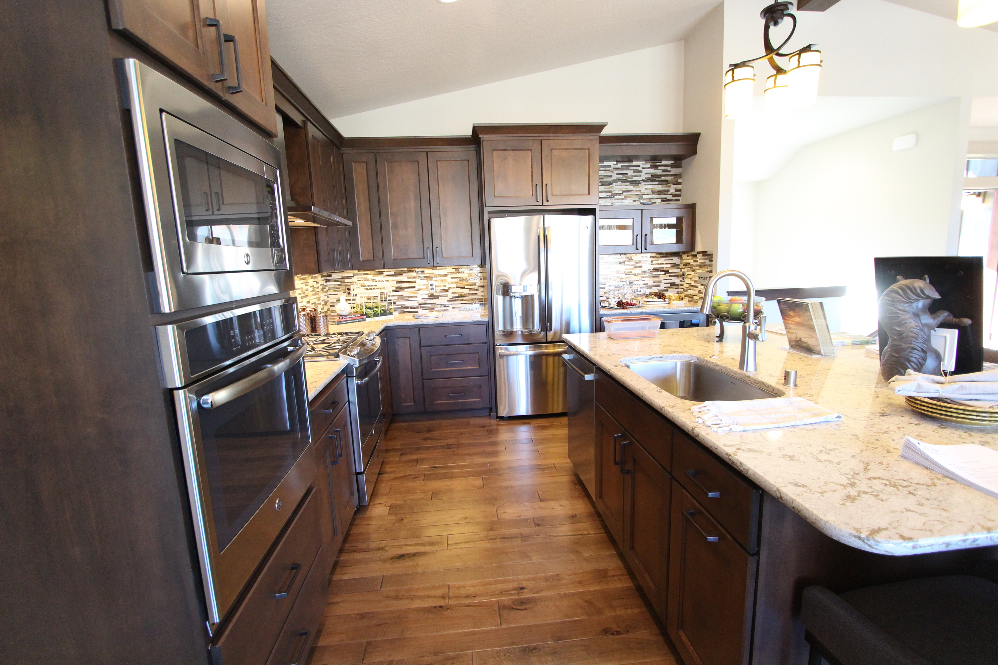 Affordable custom cabinets showroom thumb kitchen contemporary style clear alder dark color recessed panel glass doors double oven cabinet 7 planetlyrics Choice Image
