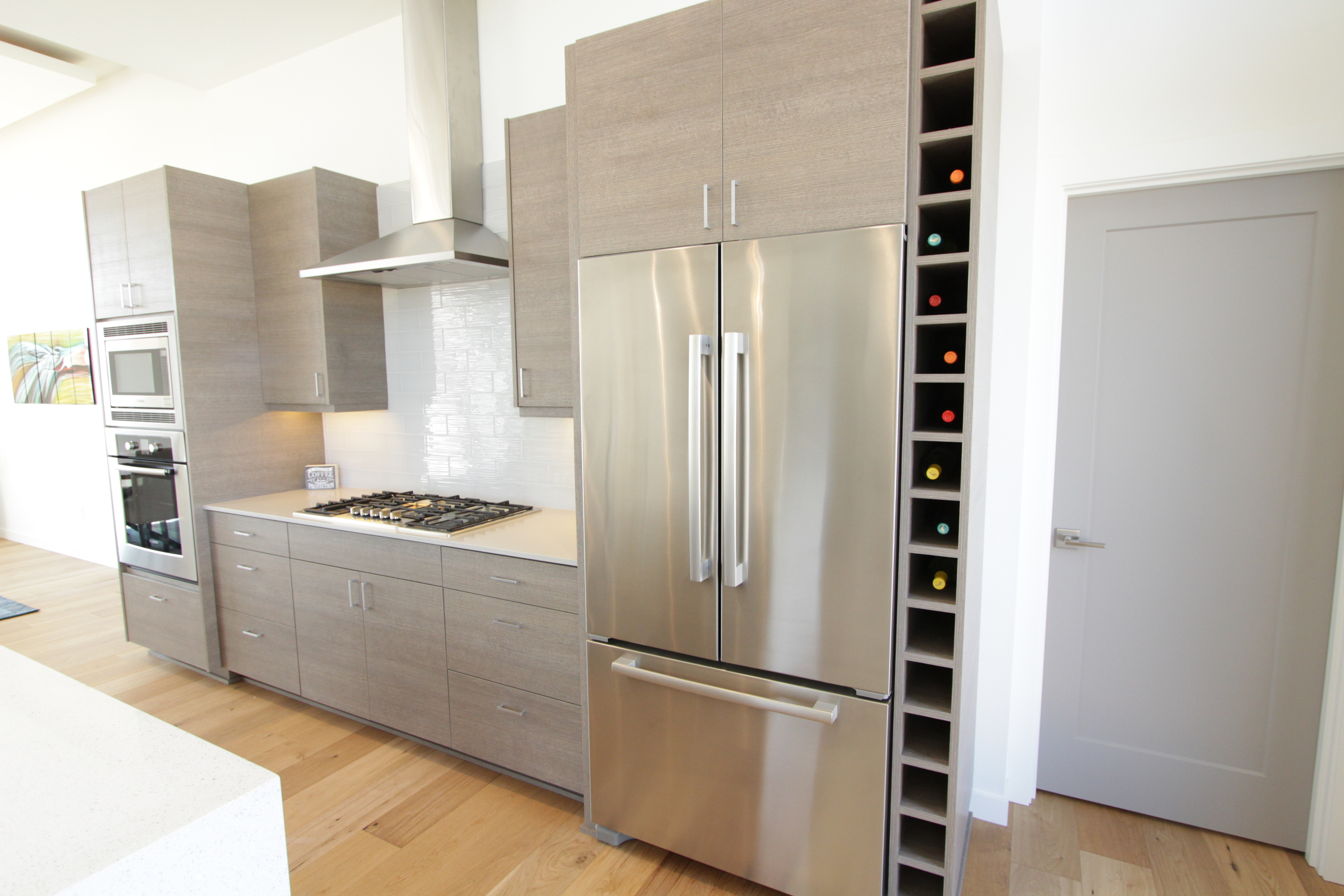 Thumb Kitchen Contemporary Style Custom Laminate Grey Banded Door Cubbie  Wine Rack Frameless Construction Chimney Hood
