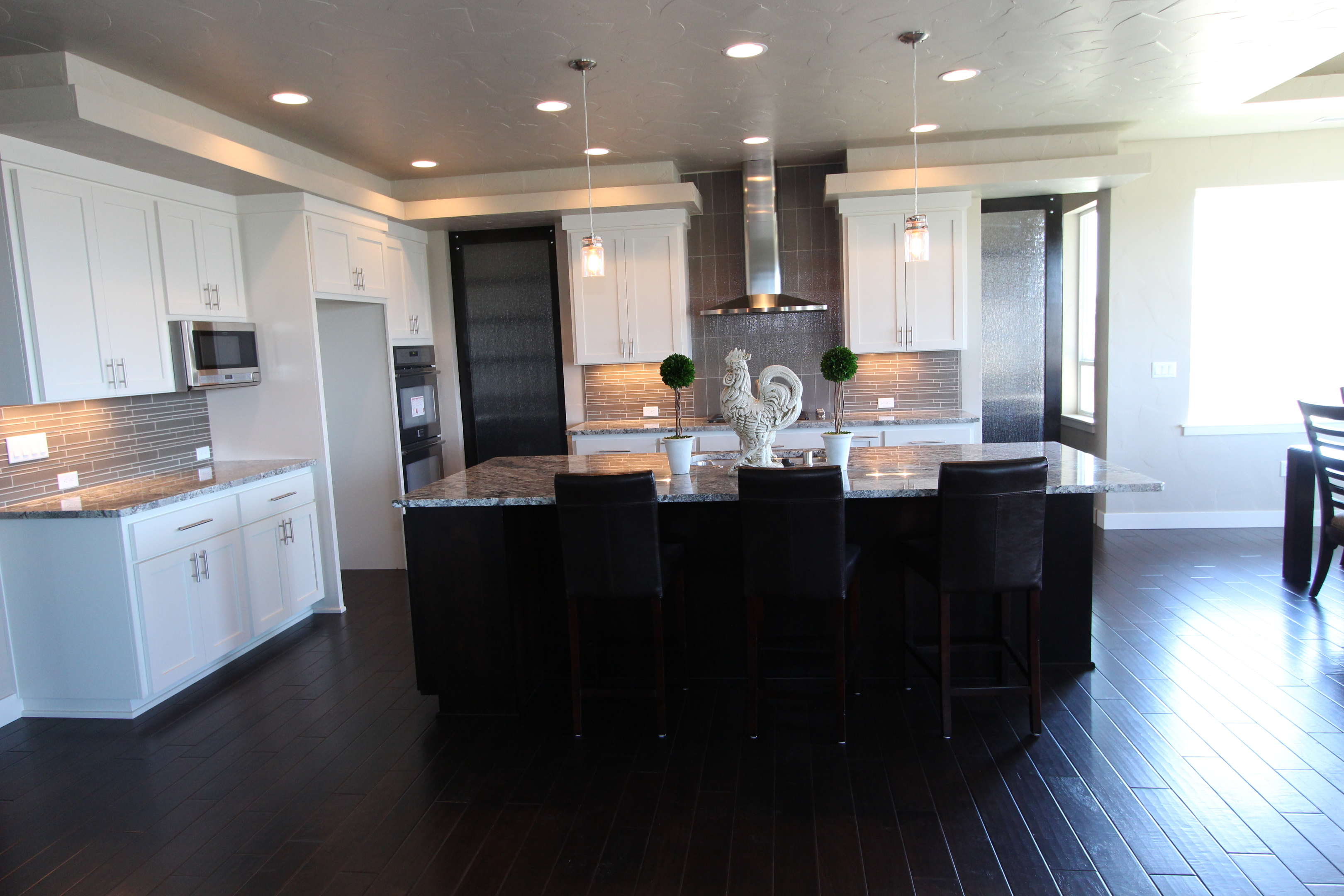 Affordable Custom Cabinets. Kitchen Contemporary Style Painted Accent Color  Island Recessed Panel 36 High Island Overhang Micro In Upper