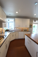 Thumb kitchen  contemporary style  painted  banded slab door  corner sink  stainless countertop  wood island top  full overlay