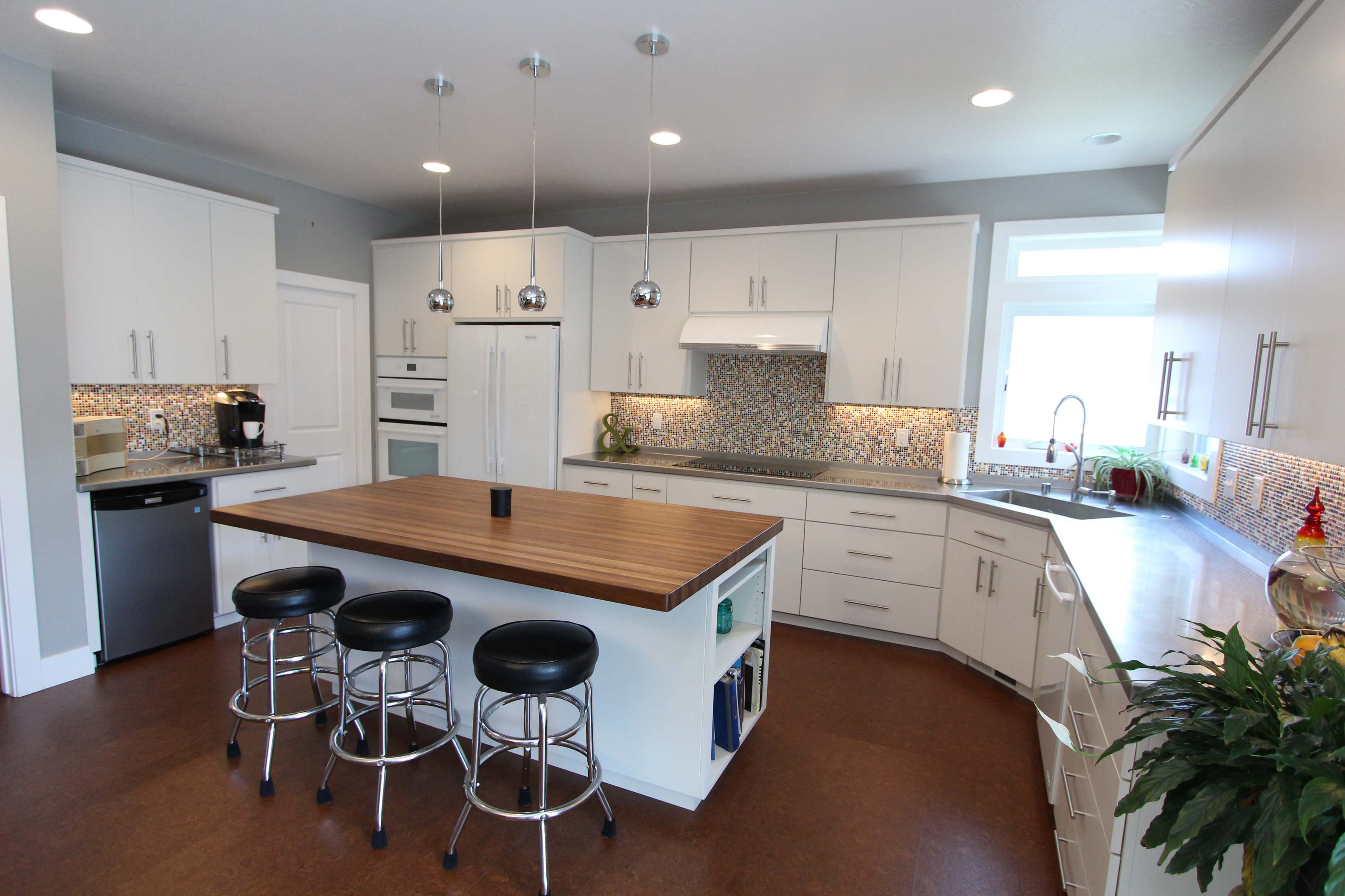 affordable custom cabinets showroom thumb kitchen contemporary style painted slab door island overhang corner sink retro all one height full