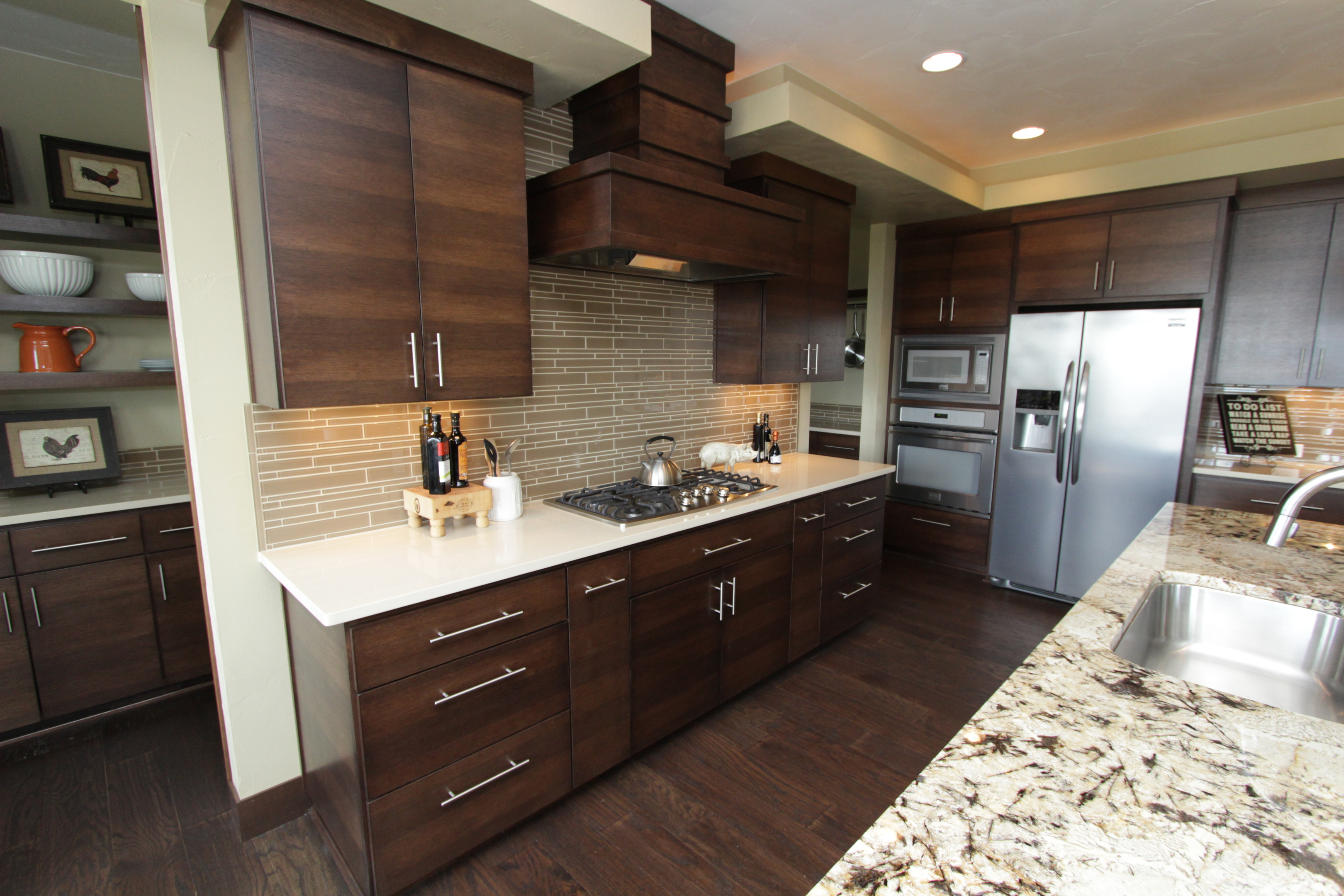 Thumb Kitchen Contemporary Style Quartersawn Walnut Banded Door Dark Color  Custom Wood Hood Butler Pantry Floating