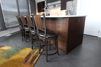 Thumb kitchen  contemporary style  quartersawn walnut  dark color  banded door  horizontal grain  frameless construction