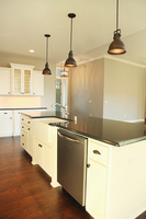 Thumb kitchen  craftsman style  painted  recessed panel doors  glass doors  apron sink. posts   legs  standard overlay
