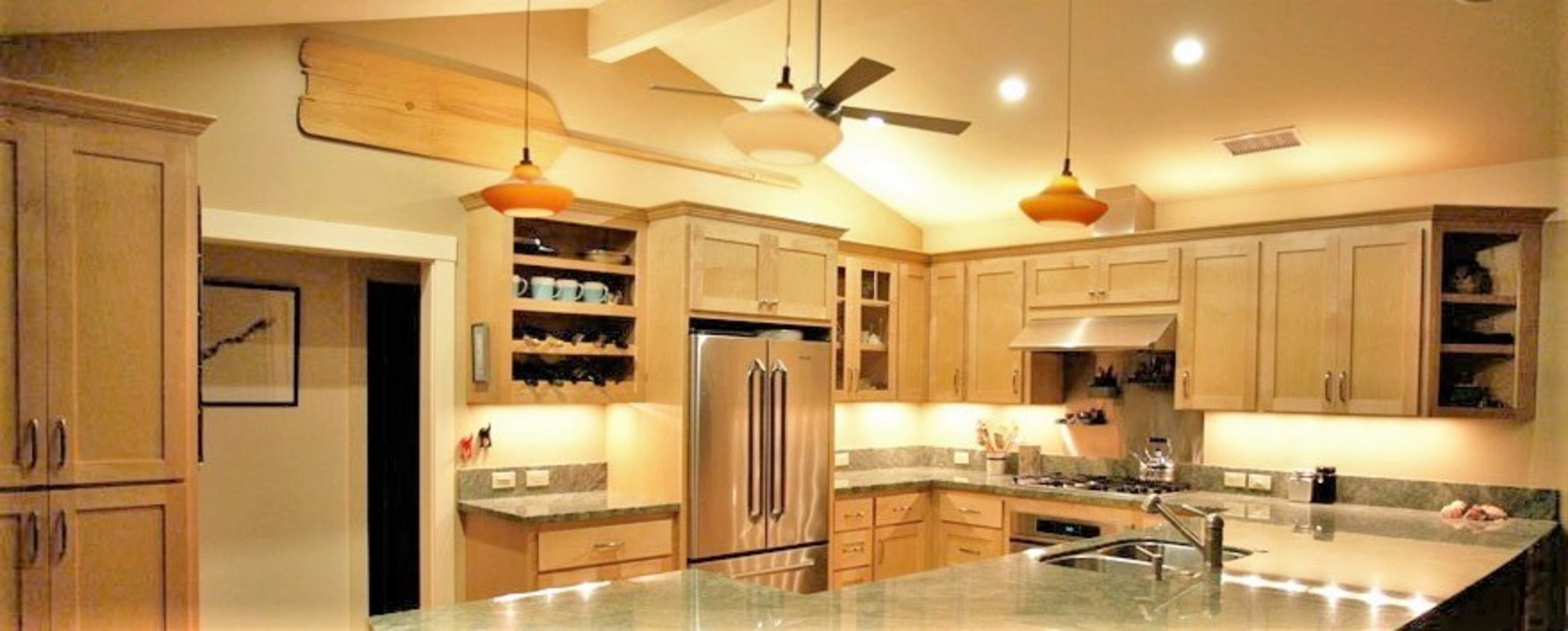 Thumb kitchen shaker style maple light color recessed panel scallop wine rack angled bookcase shelves standard & Affordable Custom Cabinets - Showroom azcodes.com