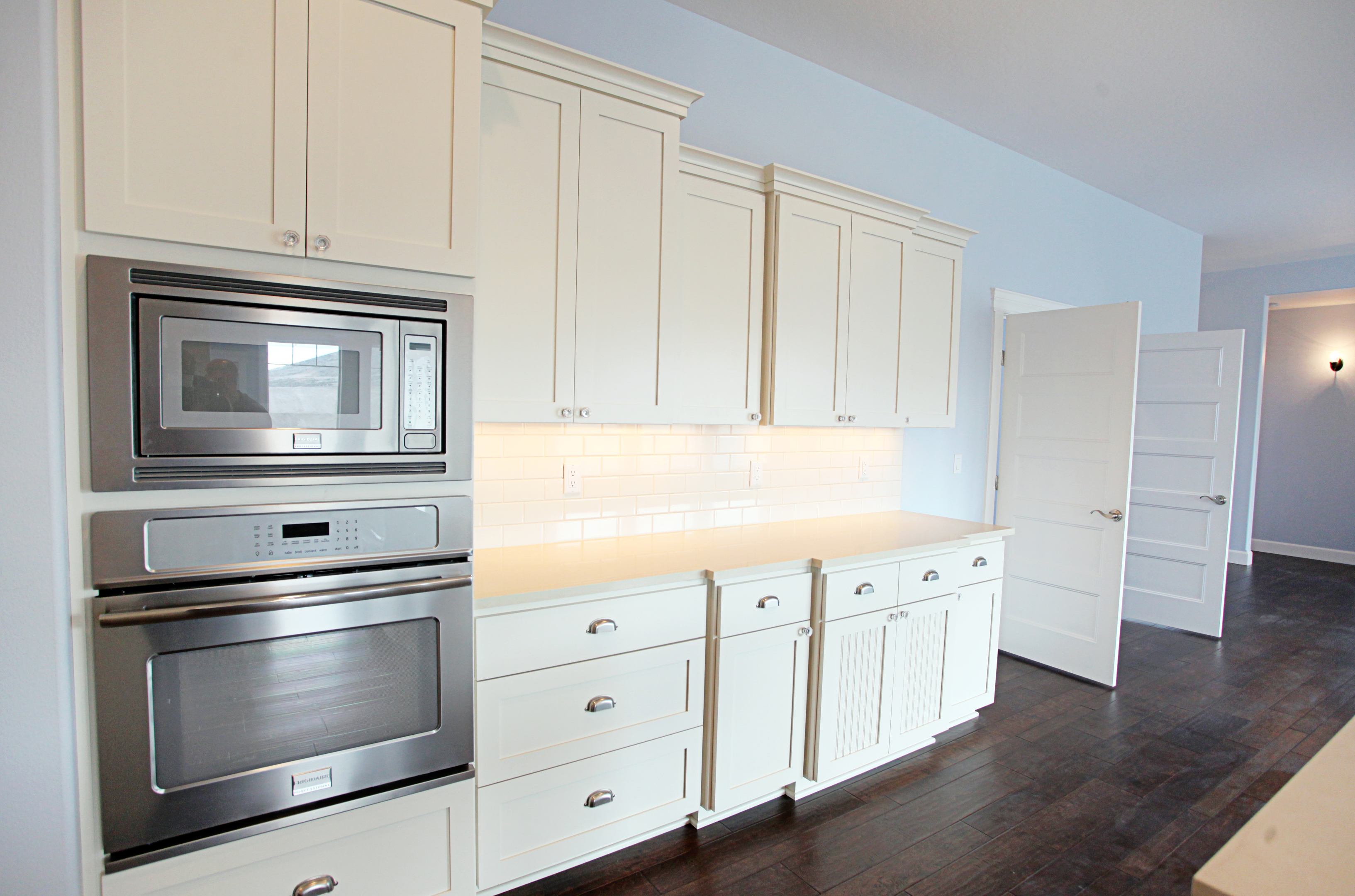 Affordable custom cabinets showroom for Double oven and microwave cabinet