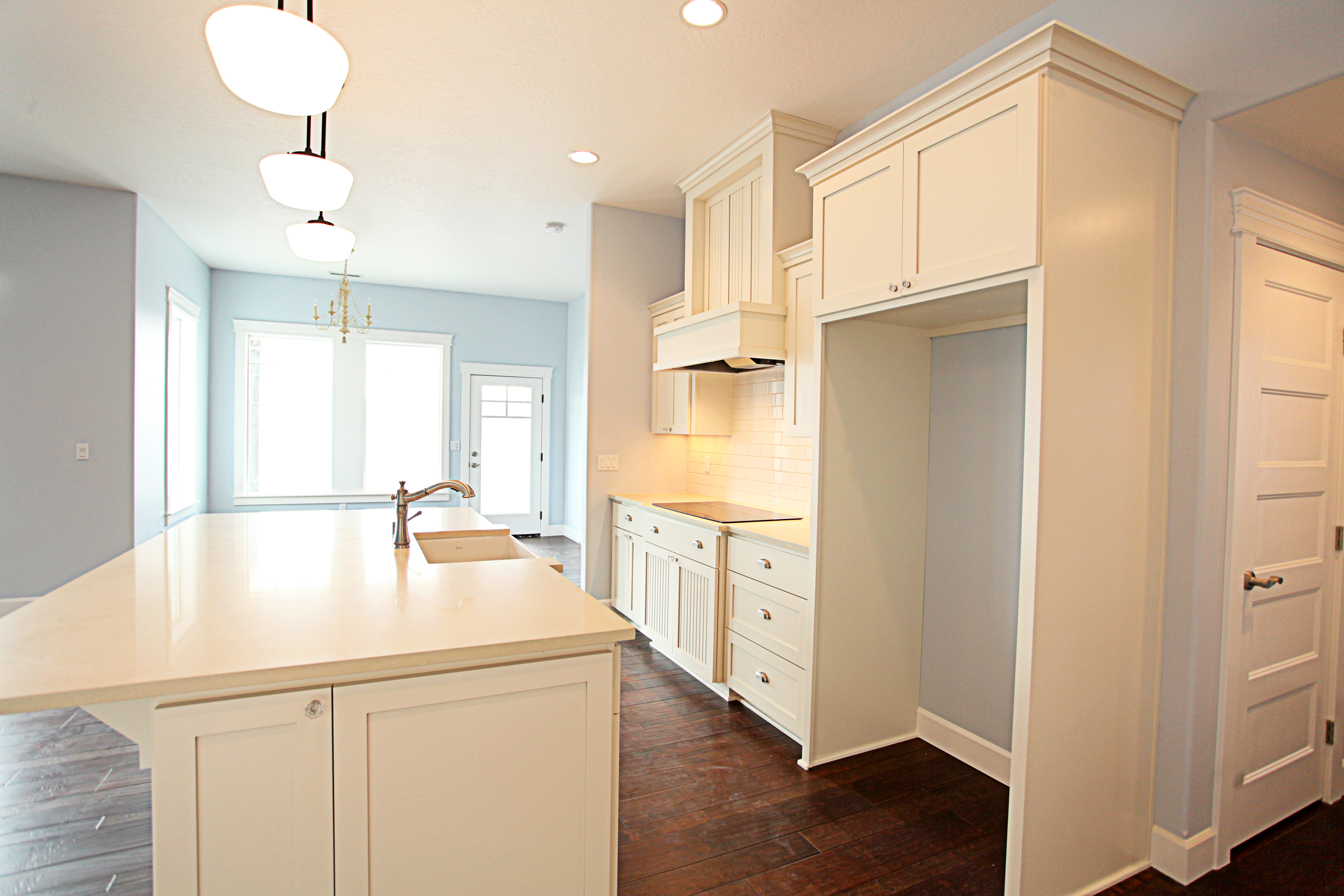 Marvelous photograph of kitchen shaker style painted recessed panel and wainscot panel wood  with #30160B color and 3240x2160 pixels