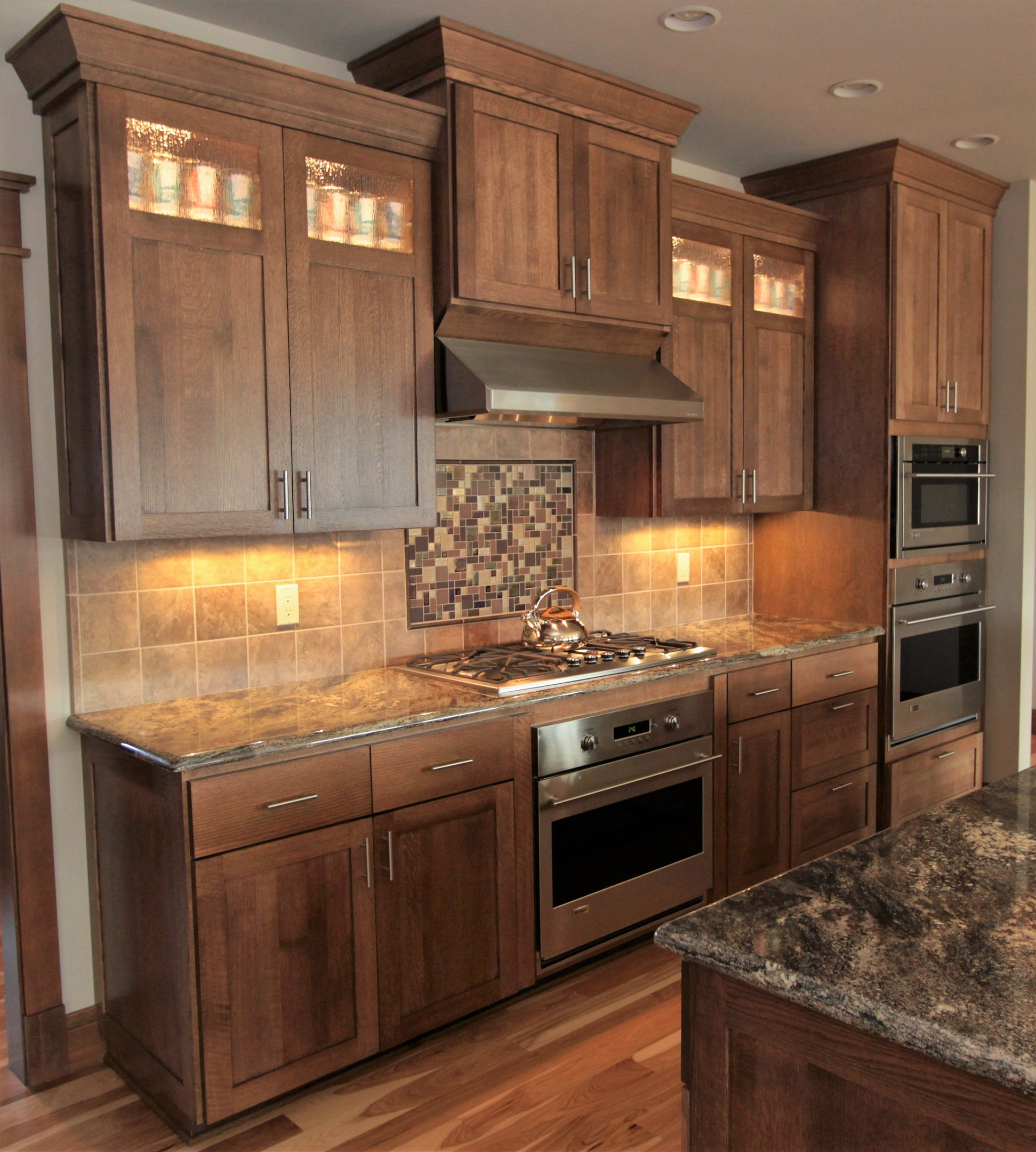 Affordable custom cabinets showroom for Dark oak kitchen cabinets