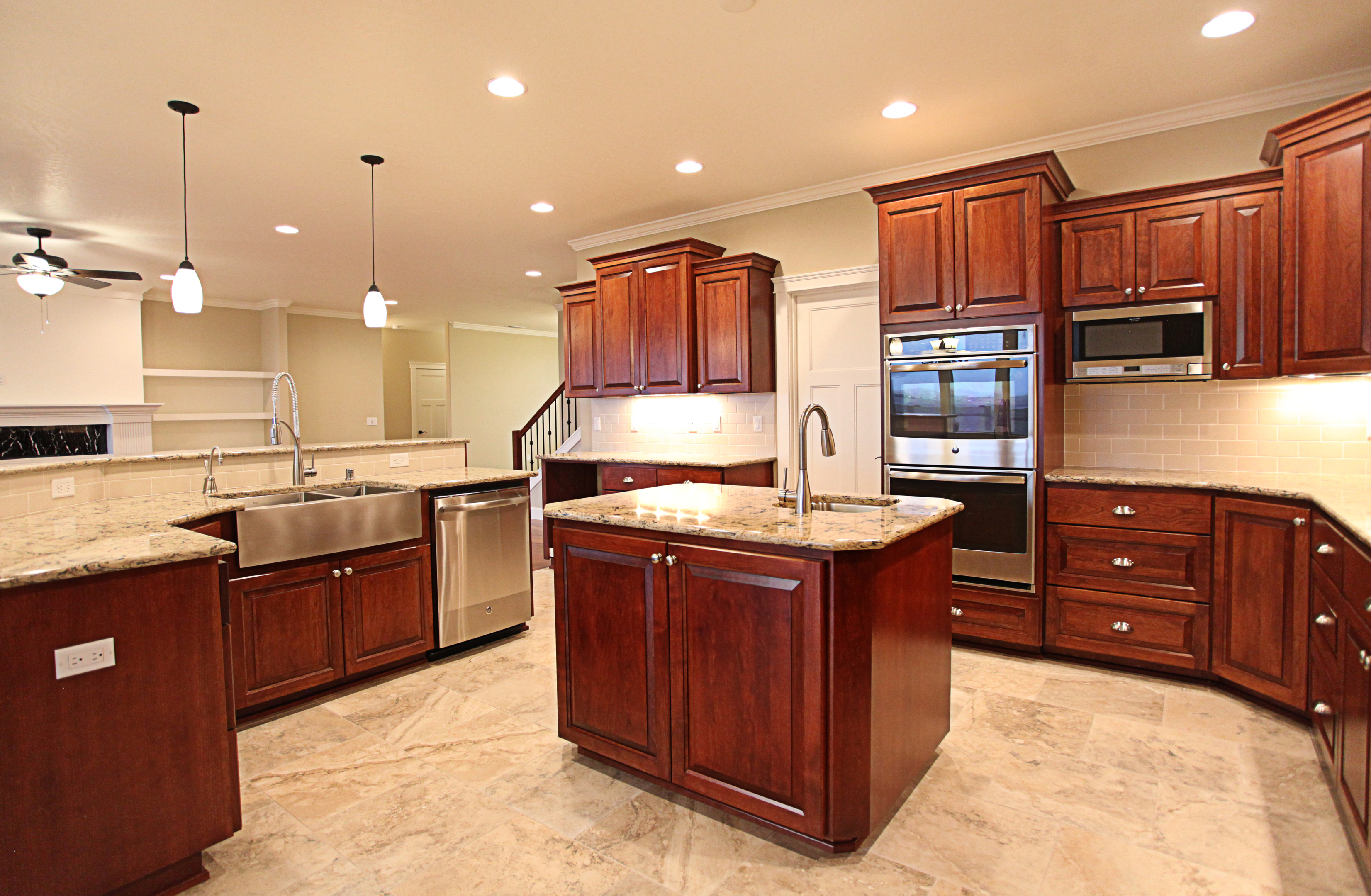 Affordable custom cabinets showroom for Double kitchen cabinets