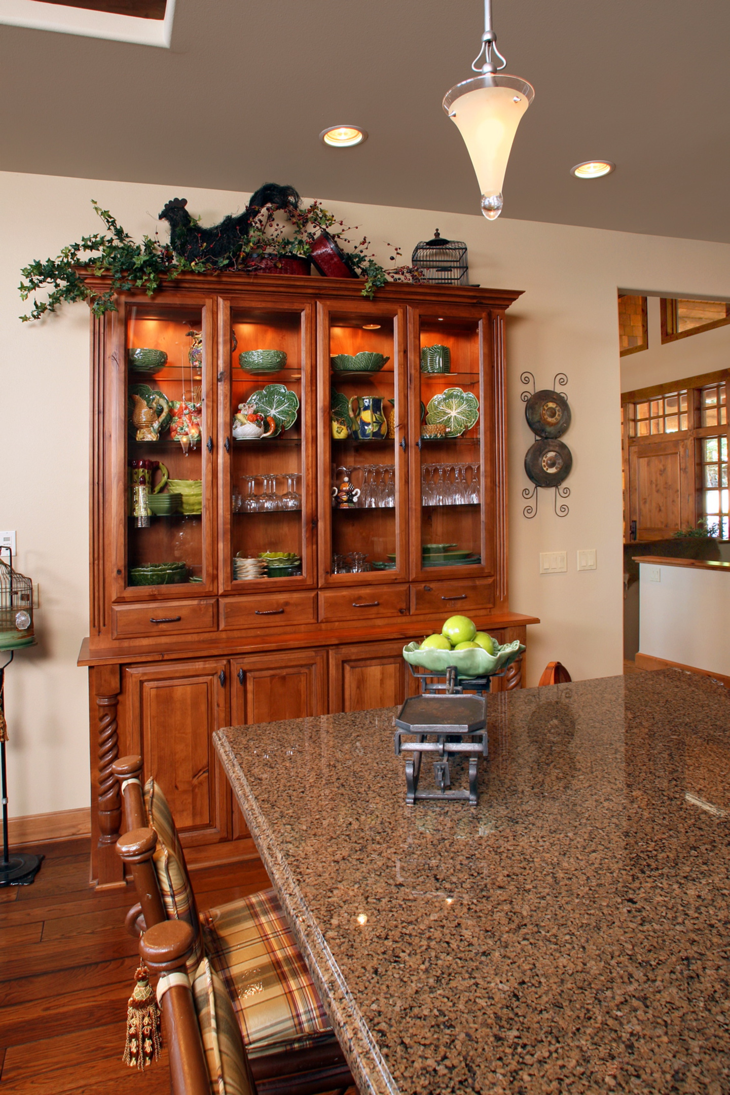 Thumb Kitchen Traditional Style Knotty Alder Medium Color Raised Panel China  Area Glass Doors Turned Posts