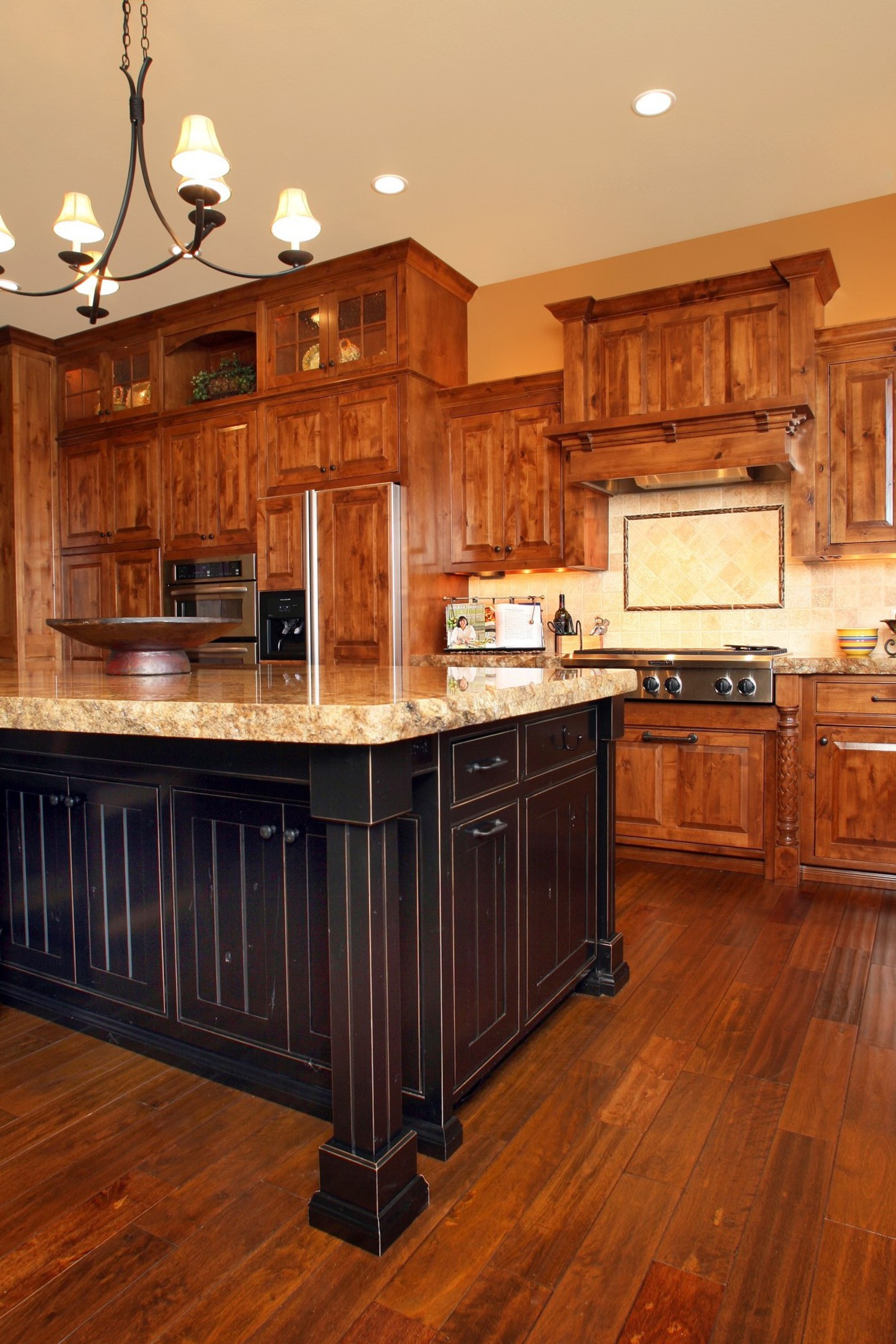 Affordable custom cabinets showroom for Black kitchen cabinets with wood doors