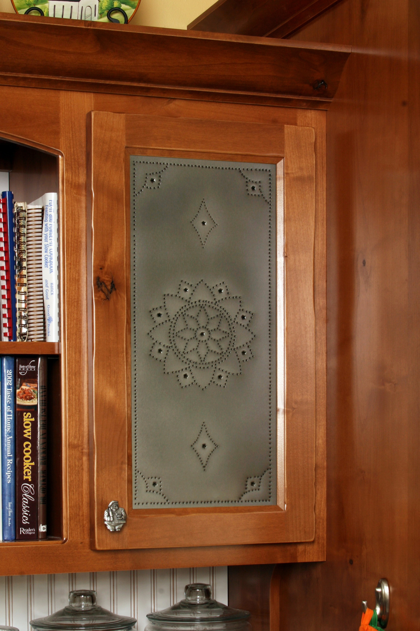 Thumb kitchen traditional style knotty alder recessed panel with punched tin door panel medium color edgewear & Affordable Custom Cabinets - Showroom