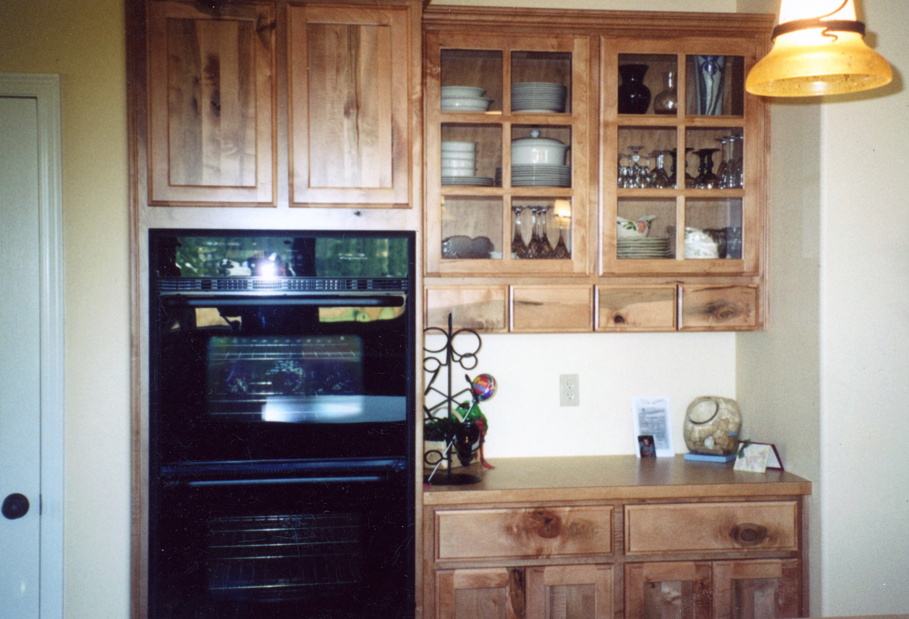Thumb Kitchen Traditional Style Rustic Maple Light Color Recessed Panel  Glass Grid Doors Small Drawers In