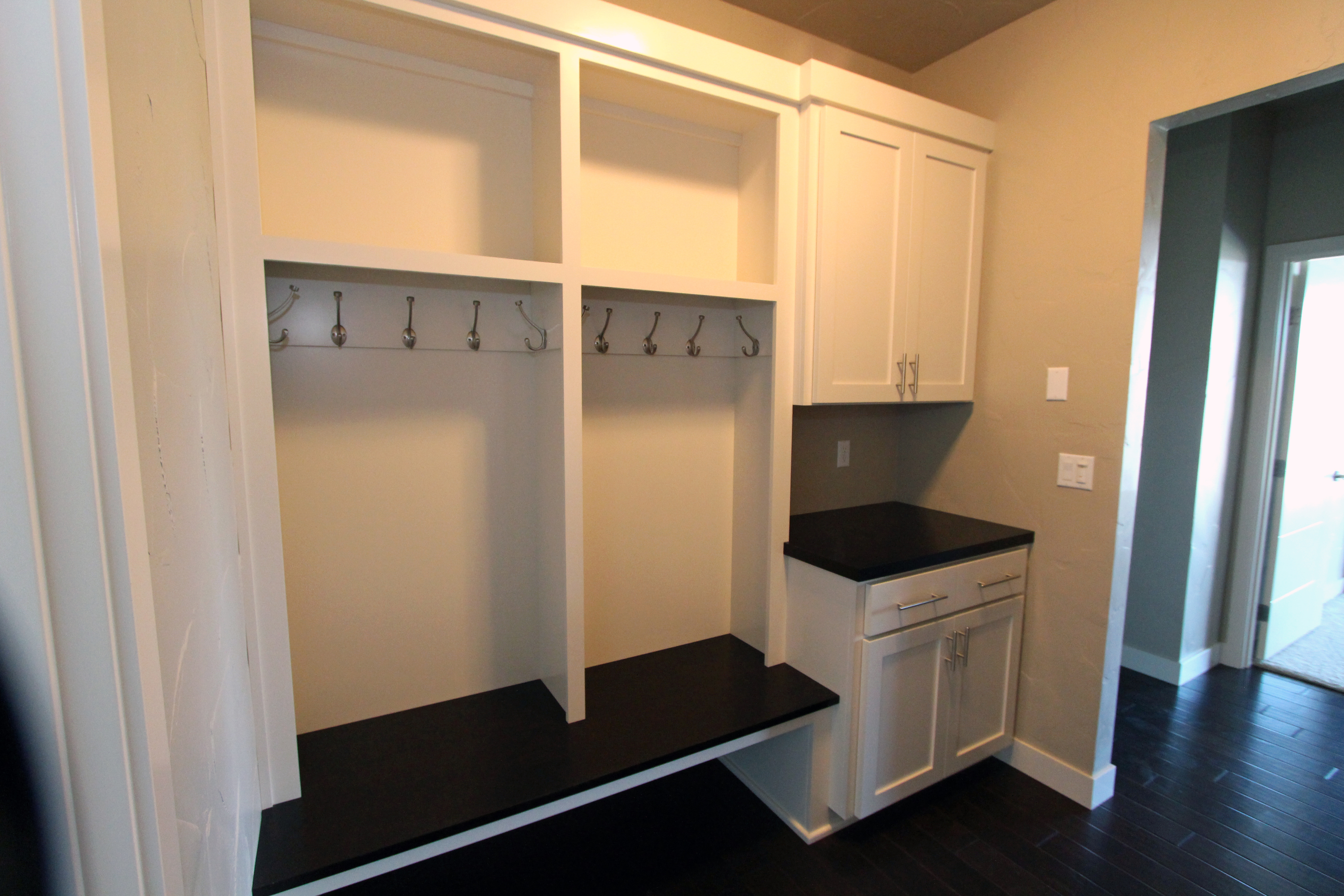 Thumb Laundry Or Utility Contemporary Style Painted Recessed Panel Cubbies Coat Rack And Hooks Bench Seat