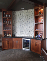 Thumb misc  contemporary style  sapele  medium color  recessed panel  bar area  bookcase to the countertop. full overlay